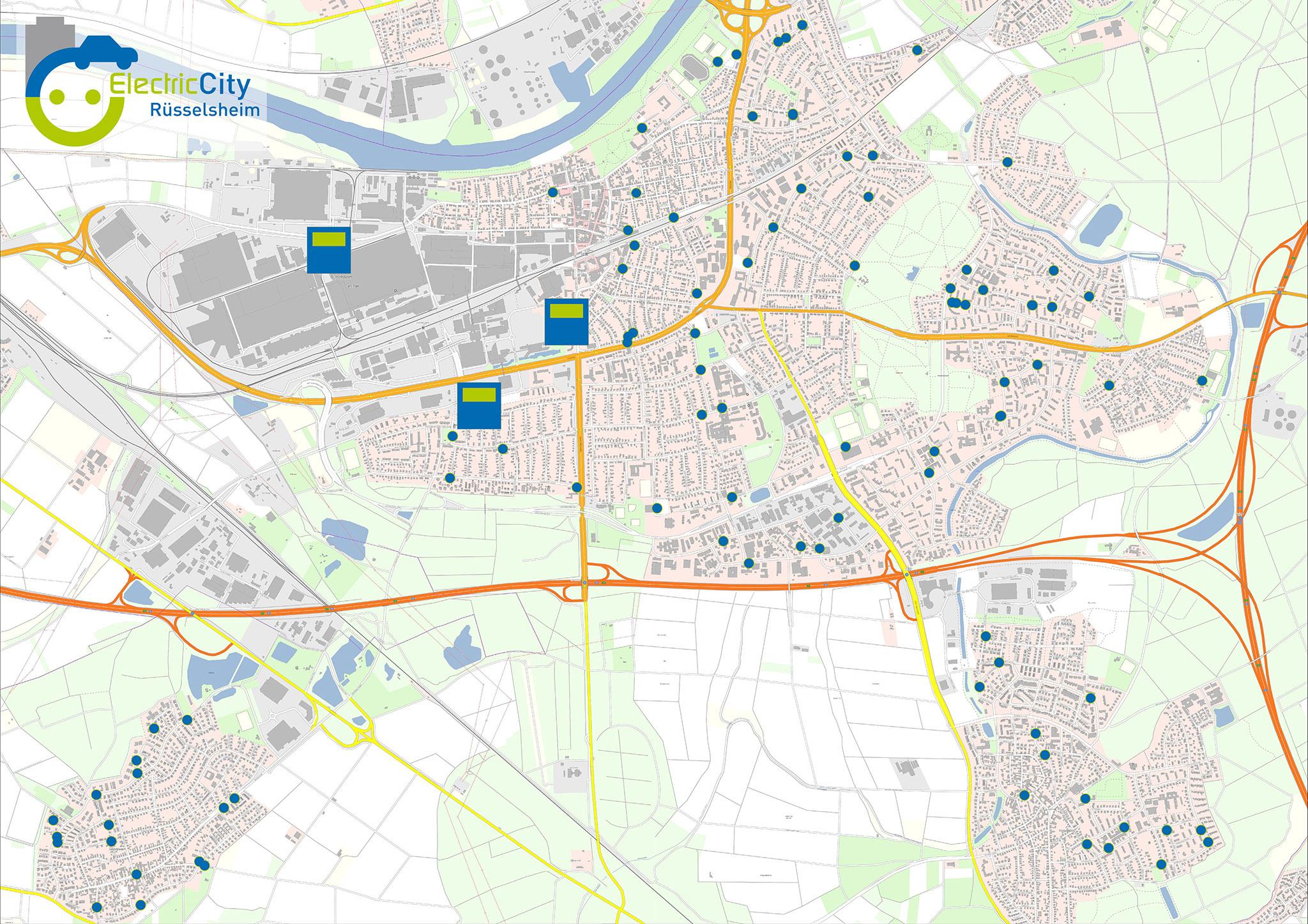 Übersichtskarte öffentliche Ladestationen Rüsselsheim am Main (© Geobasis-DE/BKG [2021])